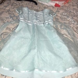 Mint green dress with sheer sleeves